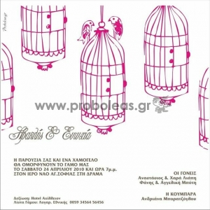 Προσκλητήριο πουλάκια κλουβάκι